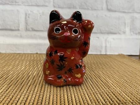 8号サイズ クリスタル招き猫 赤 紅葉