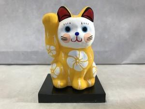 8号サイズ  和柄招き猫「松梅」黄