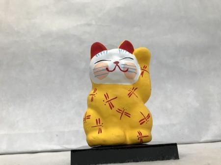 8号サイズ  和柄招き猫 「蜻蛉」 黄色 左手挙げ