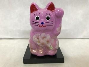 8号サイズ クリスタル招き猫 左手挙げ 桜 薄紫