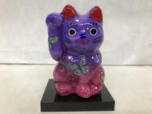 8号サイズ クリスタル招き猫 右手挙げ 蝶 青紫