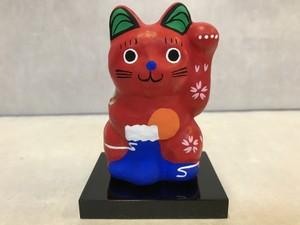 8号サイズ 和柄招き猫「富士山」左手挙げ