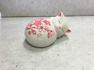 眠り猫 花柄(桜)