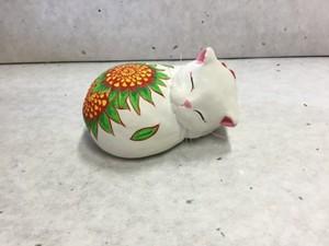 眠り猫 花柄(ひまわり)