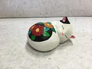 眠り猫 花柄(ポピー)