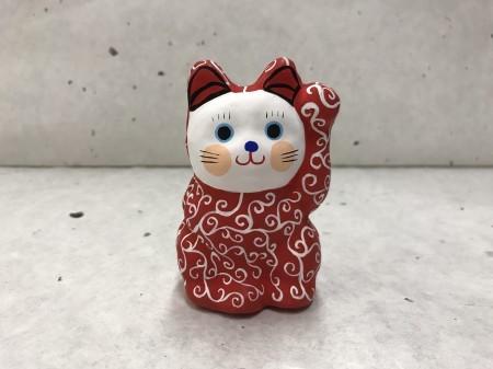 8号サイズ 和柄招き猫「唐草」 赤色 左手