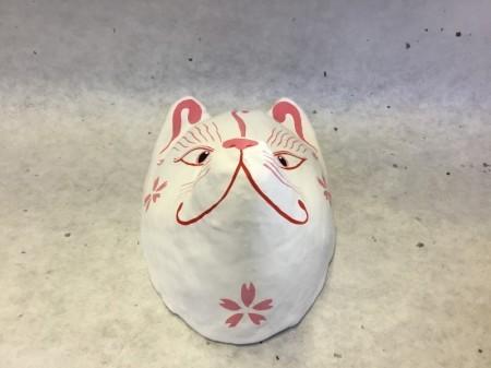 狐面 尖り 白桜