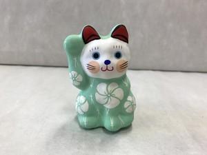 8号サイズ  和柄招き猫「松梅」緑
